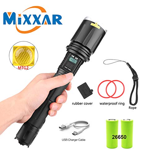 LED Tactical Flashlight, CREE MTG2 LAMP, Ultra Bright High Lumens, USB Rechargeable, Zoomable, IP68 Waterproof, LCD Screen Power and Brightness Display Handheld Light Torch Best Outdoor Flashlights