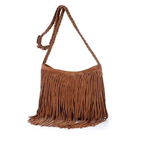 Heidi Hobo Hippie Fringe Tassel Faux Suede Shoulder Messenger Cross Body Womens Sling Bag(camel)