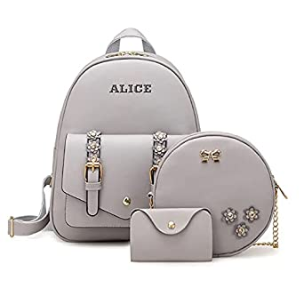 Redlicchi Fashion Girls 3-PCS Fashion Cute Mini Leather Backpack sling & pouch set for Women/Girls