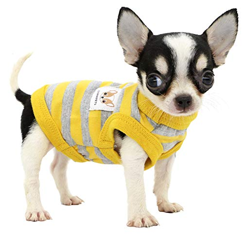 Lophipets 100% Cotton Striped Dog Shirts for Small Dogs Chihuahua Puppy Clothes Tank Vest-Yellow and Gray Strips/XXS