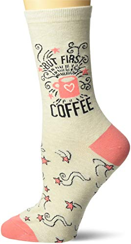K. Bell Women's Fun with Words Novelty Saying Crew Socks, Oatmeal (But first Coffee), Shoe Size: 4-10