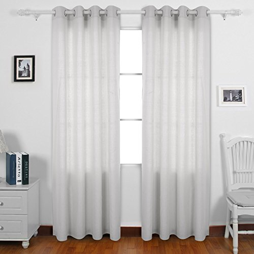 Deconovo Curtains Solid Recycled Cotton Boys Curtains Grommet 95 Curtain Pair 52 W x 95 L Tapioca 2 Panels