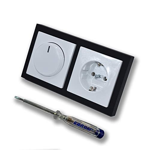 EBROM 1002 - Interruptor de luz LED para montaje empotrado, con marco negro y enchufe 20EUC-84 y diana reguladora Future Lineal, LED 3-150 W, halógeno 10-400 W/VA