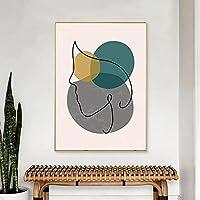 ジオメトリラインウォールアートプリントガールフェイスアートラインドローイング植物の葉プリント植物ポスターとプリントパネルプリント40x50cmフレームレス