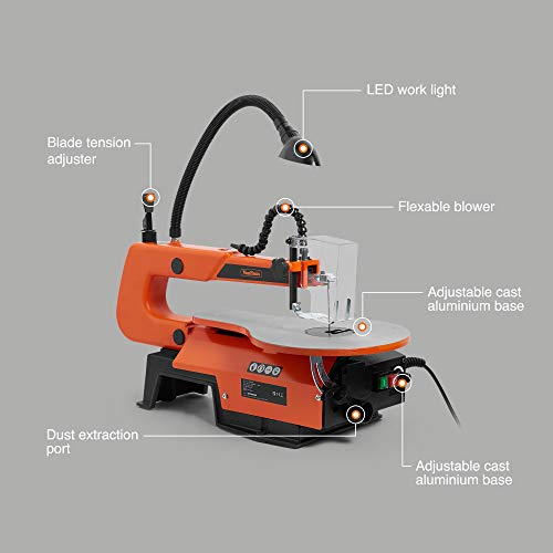 VonHaus Scroll Saw 405mm with Variable Speed and LED Light - Suitable for Pinned and Pinless Blades - Adjustable Worktable