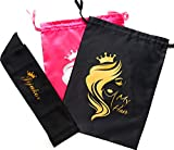Head Wrap for Black Women, Edge Control Scarf, Silk Hair Wrap for Sleeping, Silk Satin Scarf& Satin Wigs Bundles Hair Tools Storage and Travel Bags, 2Bags & 1 Edge Wrap(2 Bags & 1 Edge Wrap)