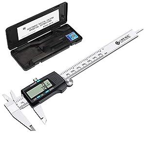 Calibrador a Vernier Digital, eSynic Calibre Digital de 150 mm Pie de Rey de Acero Inoxidable que Admite Conversión de Fracciones/Pulgada/Métrica con Pantalla LCD para Diseñadores, Ingenieros, etc.