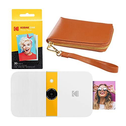 KODAK Smile - Cámara Digital con impresión instantánea (Blanco/Amarillo), Color marrón