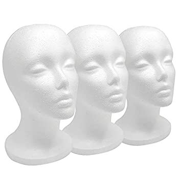 12  3 Pcs Styrofoam Wig Head - Tall Female Foam Mannequin Wig Stand and Holder for Style Model And Display Hair Hats and Hairpieces Mask - for Home Salon and Travel