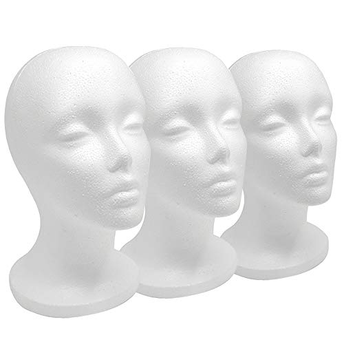 """12"""" 3 Pcs Styrofoam Wig Head - Tall Female Foam Mannequin Wig Stand and Holder for Style, Model And Display Hair, Hats and Hairpieces, Mask - for Home, Salon and Travel"""