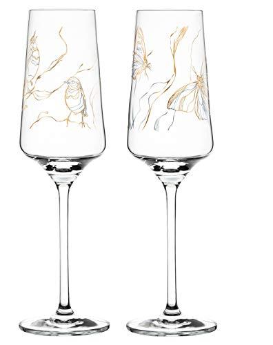Dekomiro Ritzenhoff Prosecco Spring 2020 - Juego de 2 copas de prosecco con diseño de Marvin Benzoni Birds y mariposa con limpiador