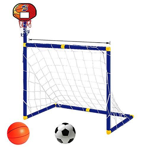 FXQIN Juego de Mini portería de fútbol y Soporte de Baloncesto 2 en 1 Aro de Baloncesto para niños Red de fútbol con Bomba Soccer Goal Equipo de Entrenamiento para jardín Interior al Aire Libre