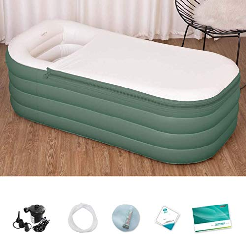 Opblaasbaar bad PVC inklapbaar volwassenen draagbare opblaasbare badkuip lucht opblazen badkuip PVC anti-slip met luchtpomp voor familiebad SPA grijs L mediumgroen