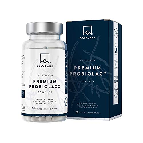 Fermenti Lattici Probiotici Premium [ 120 Miliardi di UFC ] 30 Ceppi Batterici - Lactobacillus Acidophilus e Bifidobacterium per Porzione - 90 Capsule a rilascio Ritardato
