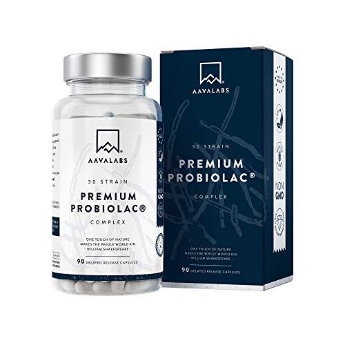 Complexe Probiolac Premium - Ferments Lactiques - Haute Puissance 120 Nilliards UFC - Spectre Complet - 30 Souches de Bonnes Bactéries - 90 capsules