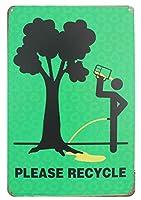 木をリサイクルしてください メタルポスタレトロなポスタ安全標識壁パネル ティンサイン注意看板壁掛けプレート警告サイン絵図ショップ食料品ショッピングモールパーキングバークラブカフェレストラントイレ公共の場ギフト