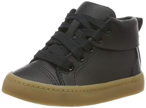 Clarks Jungen City Oasis HT Hohe Sneaker, Schwarz (Black Leather Black Leather), 24 EU