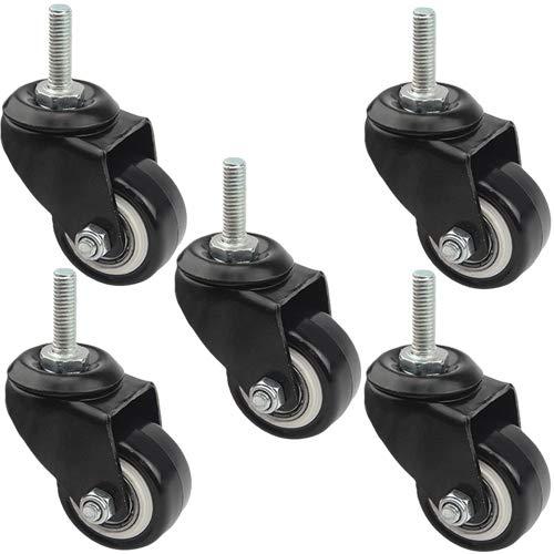 "TOVOT 5 Pack 1.46"" Swivel Caster Wheels Heavy Duty Rubber Caster Wheels for Home Office (No Brake)"