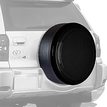 Boomerang Rigid Tire Cover for Toyota RAV4 -  Hard Plastic Face & Vinyl Band  - Black Textured