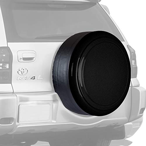 Boomerang Rigid Tire Cover for Toyota RAV4 - (Hard Plastic Face & Vinyl Band) - Black Textured
