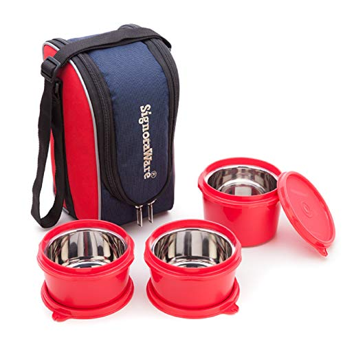 Signoraware Stainless Steel Executive Microsafe Steel 3 Tier Lunch Box (Red) - Set of 3