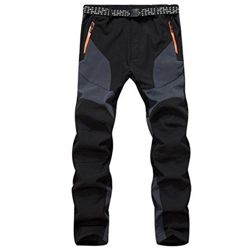 Paolian Pantalon molletonné Chaud d'hiver de Polaire d'hommes, épaississement imperméable Coupe-Vent, Pantalons de Ski de randonnée (L, Gris)