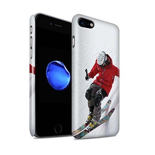 Gloss Telefoonhoesje voor Apple iPhone SE 2020 Skiën/snowboarden Helling Skiën Ontwerp Glanzend Ultra Slim Dun Hard Snap Cover