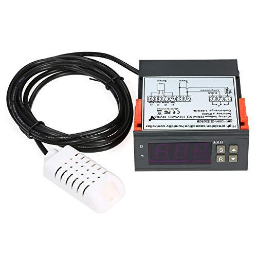 Digitale temperatuurregelaar, thermostaat met sensor, 10 A, 12 V, digitale mini-luchtvochtigheidsregelaar, vochtmeter, meetbereik 1% ~ 99% met sensor.