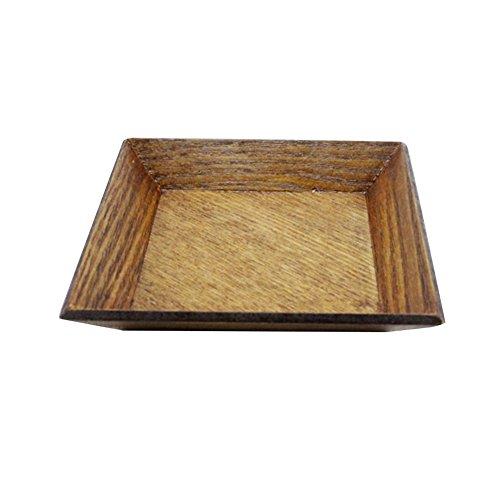 Lot de 2 plain-style Assiette à dessert, Assiette en bois en bois, plat, 10,5 * * * * * * * * 10,5 cm
