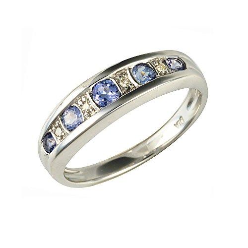 Bague - 181R3054-11 - Anillo de mujer de oro blanco (9k) con 9 tanzanitas y diamantes (talla: 14)