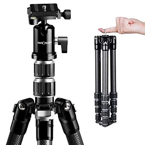 K&F Concept Treppiede Fibra di Carbonio, Treppiede da Viaggio, Treppiede Reflex Carbonio Portatile Ultraleggero per DSLR Canon Nikon Sony
