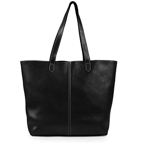 Londo Echtleder Tote Tasche Handtasche (Schwarz), einheitsgröße