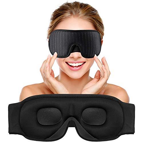 Sleep Eye Mask with Blockout Light - Memory Foam 3D Contoured Sleep Mask - Eye Cover & Soft Weighted Sleep Mask - Blindfold Sleeping Mask for Women, Men (Black)