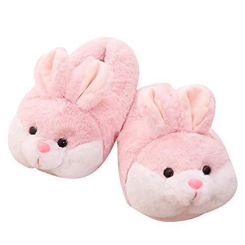 Zapatillas de Felpa Pink Piggy, Zapatos de Piso para Interiores, niñas, señoras, Cerdo de Peluche, Animales de Dibujos Animados, Invierno cálido Antideslizante Conejito de tacón Inner Sole 23.5cm