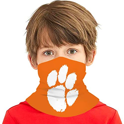 BSUDILOK Kids Reusable Protection Face Cover Bandanas Clemson Tiger Paw Neck Gaiter Headband Windproof Sports Mask for Boys Girls