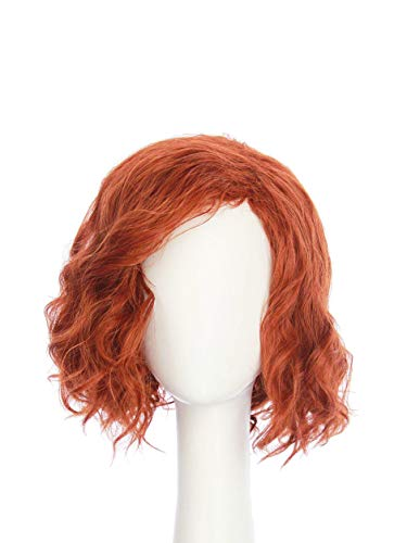 HANGCosplay Short Curly Wavy Red Wig for Costume Party and Daily Use Black Widow Cosplay
