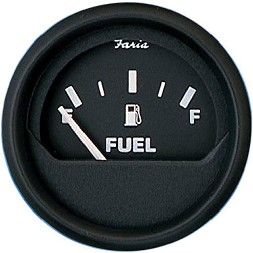 "Faria 12801 Euro Fuel Level Gauge (E-1/2-F) - 2"", Black"