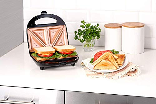 Gotham Steel Maker, Toaster and Electric Panini Grill with Ultra Nonstick Copper Surface Makes 2 Sandwiches in Minutes with Virtually No Clean Up, Seals, Double