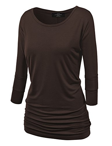 Made By Johnny MBJ WT822 Womens 3/4 Sleeve with Drape Top M Brown