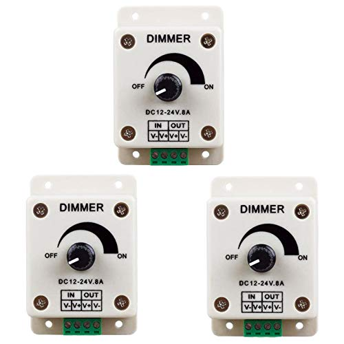 ZHITING 3pcs DC12-24V 8Amp 0%-100% PWM Dimming Controller for LED Lights, Ribbon Lights,Tape Lights,Dimmer is Compatible with Hilight, LEDwholesaler, fillite, and Others' Strips