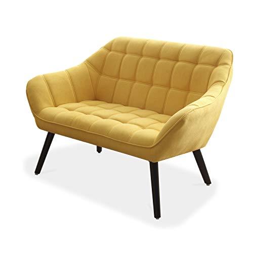 Olden, Sofa de Dos plazas, Sillon de Descanso, 2 Personas, Acabado en Tejido Mostaza y Patas Negro, Medidas: 127 cm (Largo) x 75 cm (Ancho) x 77 cm (Alto)