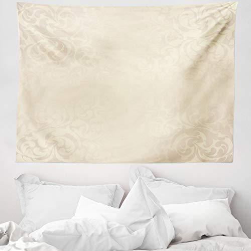 ABAKUHAUS Elfenbein Wandteppich & Tagesdecke, Einfarbiger Damast, aus Weiches Mikrofaser Stoff Waschbar mit Klaren Farben, 150 x 110 cm, Creme