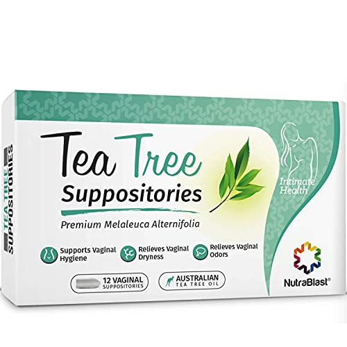 Nutrablast Tea Tree Oil Suppositories (12 Count)   All Natural Intimate Deodorant for Women   Restore Feminine pH Balance   Made in USA