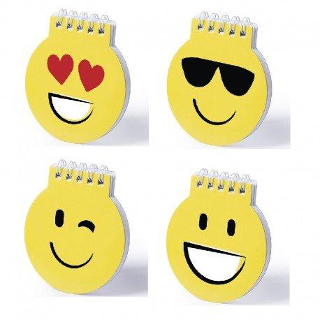 Lote de 20 Libretas Emoticonos Emojis - Libreta de divertidos diseños emoji en llamativo color amarillo. De anillas blancas, con tapas de cartón rígidas de suave acabado brillante y 40 hojas l