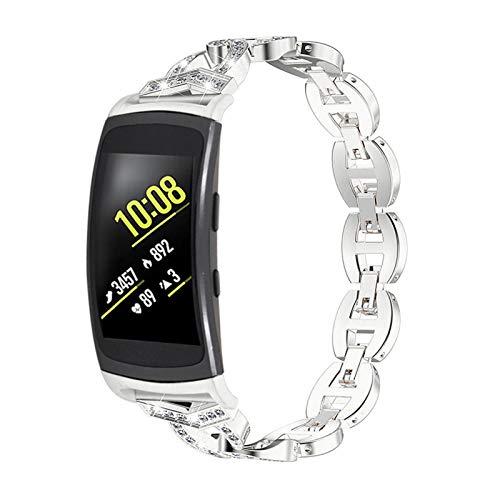 MVRYCE Gear Fit 2 Correa de Reloj, Correa de Muñeca de Acero Inoxidable con Diamantes de Imitación Correa de Repuesto Delgada Compatible con Gear Fit 2 SM-R360 /Gear Fit 2 Pro SM-R365 (Plata)