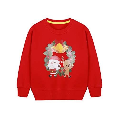 BONNY BILLY Sudadera Niña Manga Larga Camiseta Top Navidad Algodón Otoño Invierno Ropa Niña 8-9 Años Rojo-1