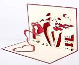 Smiling Art Pop Up 3D Karten, Glückwunschkarten inklusive Umschlag und Schutzhülle, handgearbeitet, handgefertigt, Geschenkkarte für Gutschein, Einladungskarte, Geburtstagkarte (I love you)