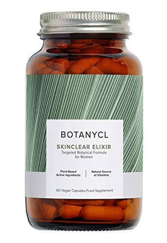 SkinClear Elixir - Plant-Based Supplement for Clear Skin by Botanycl | with Saw Palmetto, Coconut Oil, Natural Vitamins A and C to Support Clear and Healthy Skin | 60 Vegan Capsules for Women