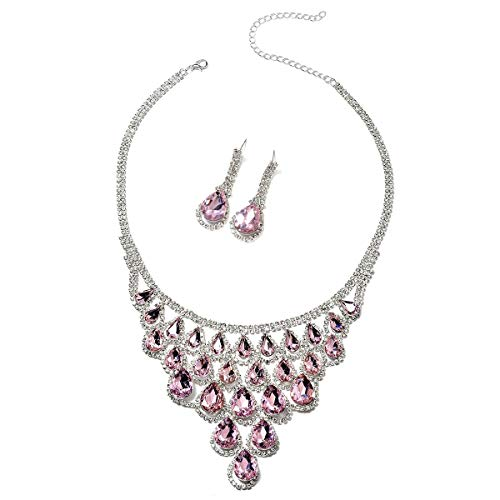 Pink CZ White Crystal Silvertone Drop Earrings Statement Bib Necklace Prom Fashion Jewelry Set 18""