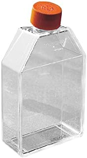 Corning 3815 Polystyrene 10mL Rectangular Canted Neck Cell Culture Flask with Orange HDPE Vent Cap and Ultra-Low Attachment (Case of 24)